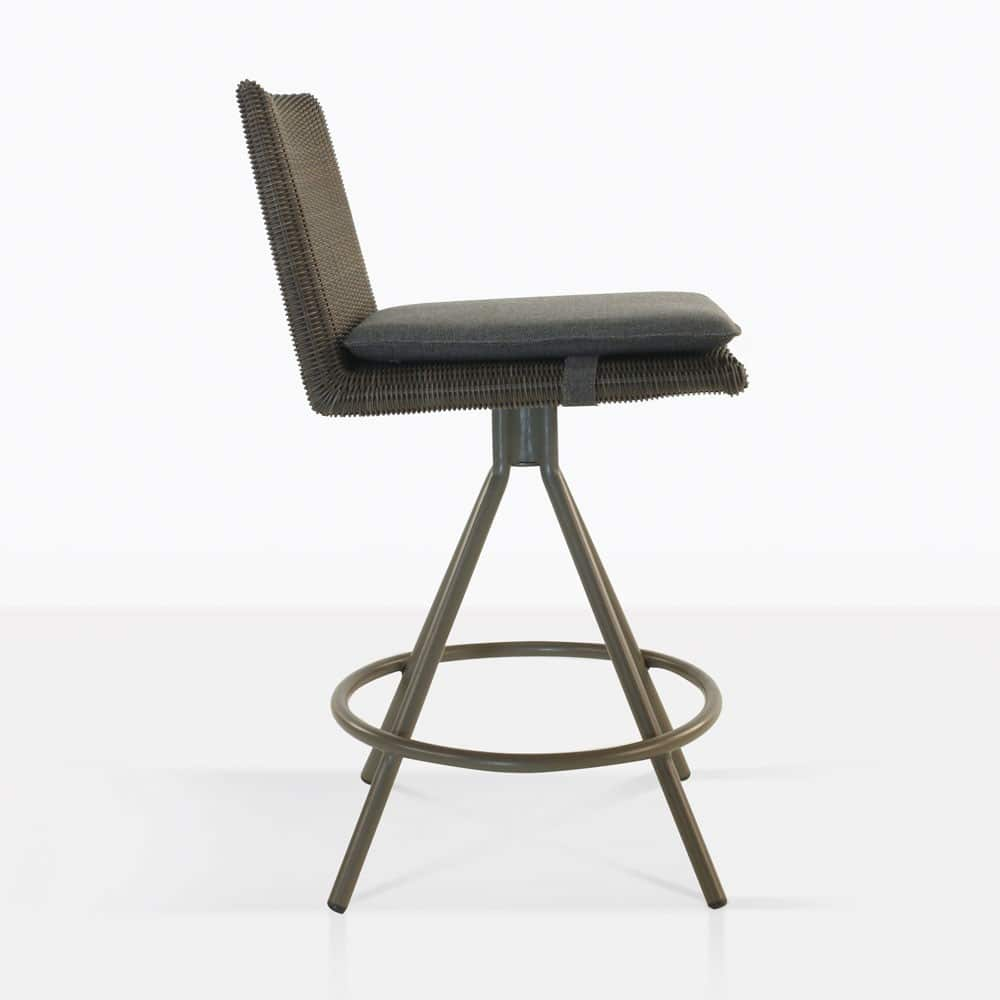 loop counter height stool in mud grey color side view