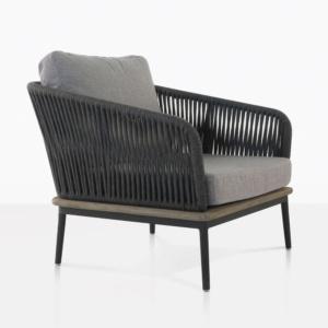 angle view dark grey oasis chair