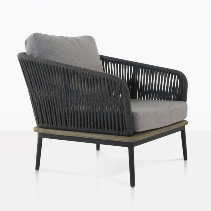 angle view dark grey oasis chair