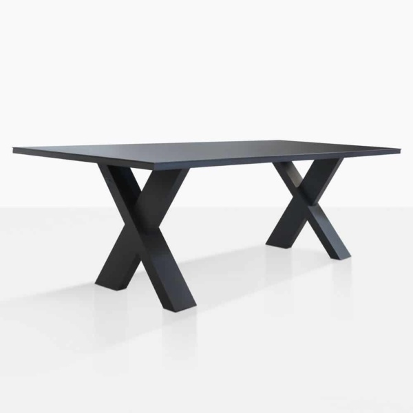 rudi x-leg dining table angle view