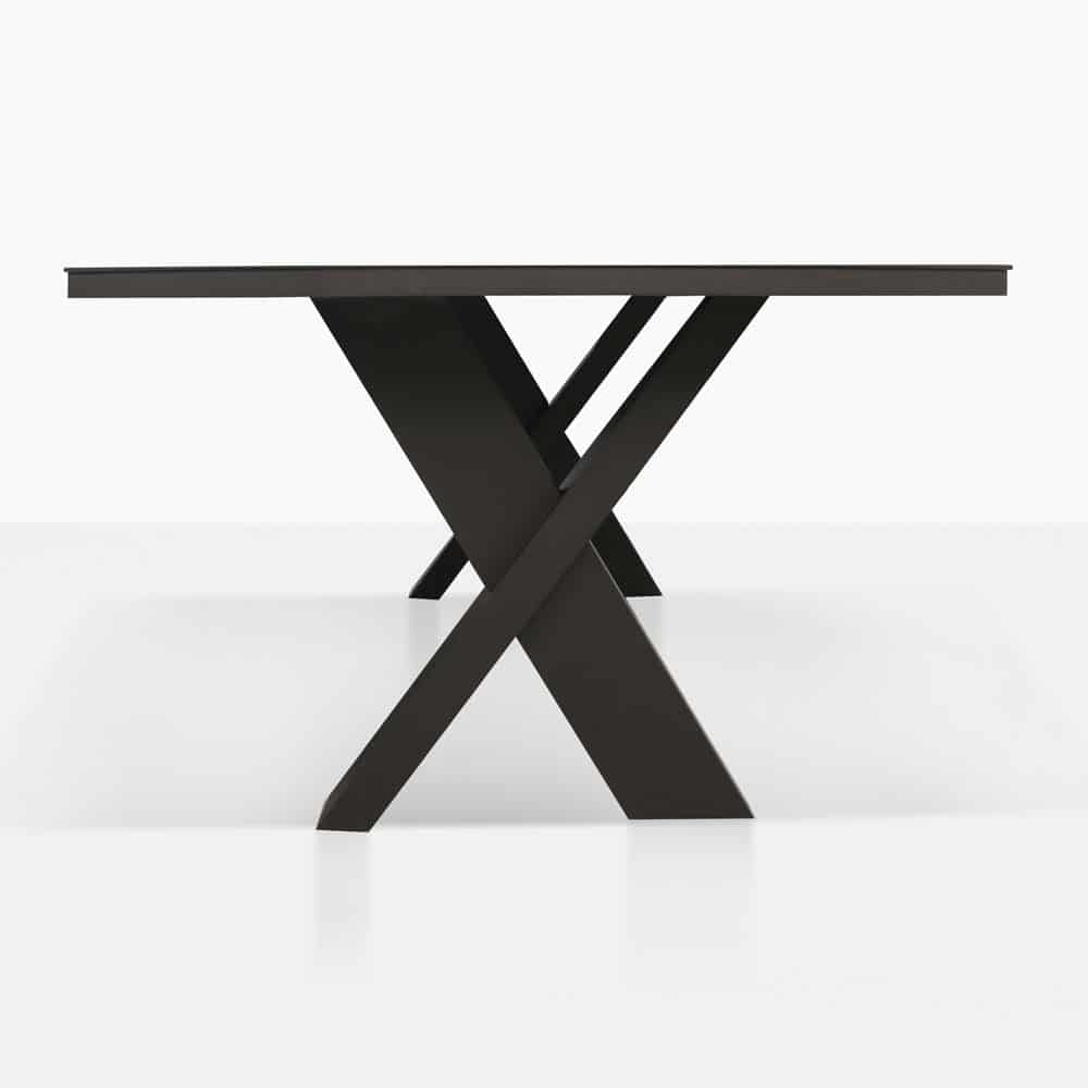 rudi x-leg dining table side view