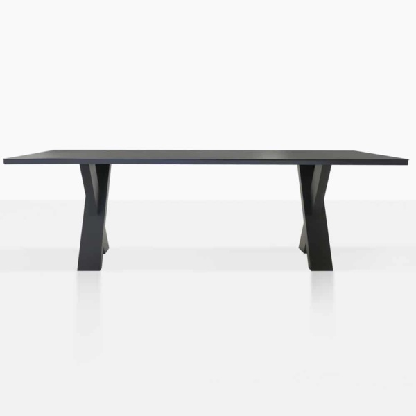 rudi x-leg dining table length view
