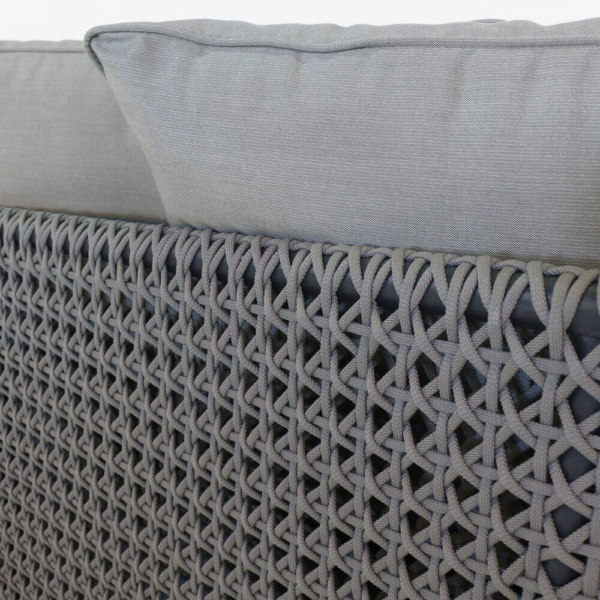 Brazil rope and teak outdoor sofa closeup