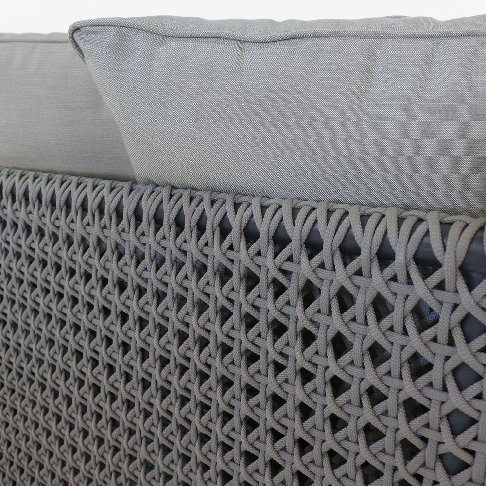 brazil rope and reclaimed teak outdoor sofa closeup view