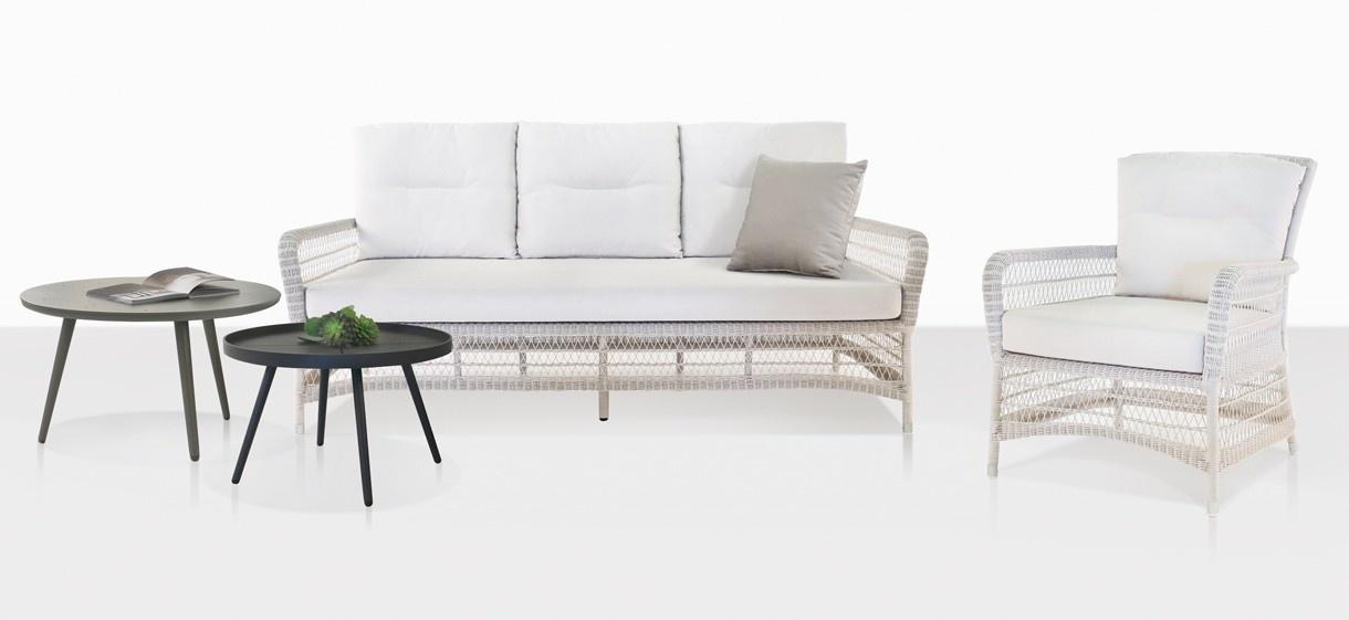 Hampton White Wicker Sofa And Lounge Chair