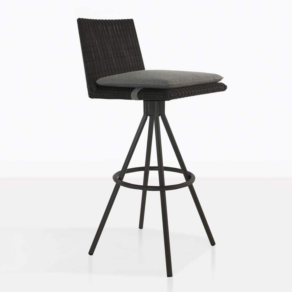 loop swivel bar stool in charcoal color
