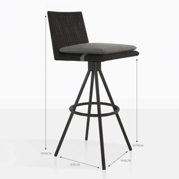 loop black wicker barstool