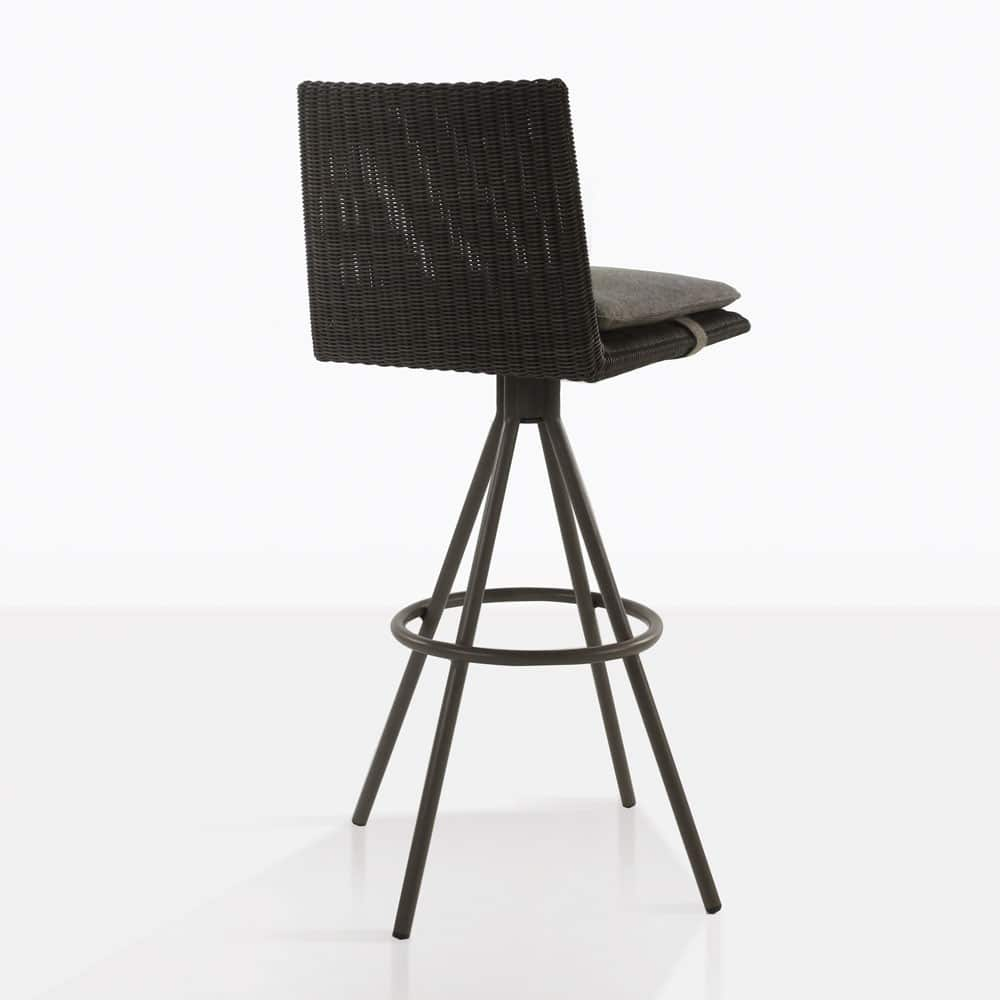 loop swivel bar stool in charcoal color rear view