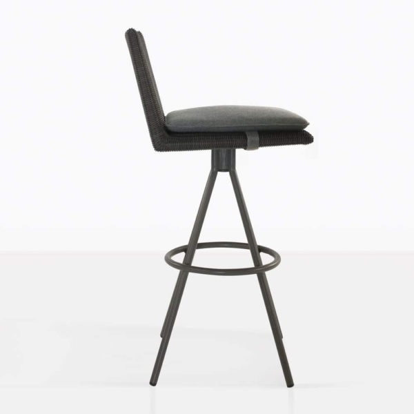 loop swivel bar stool in charcoal color side view