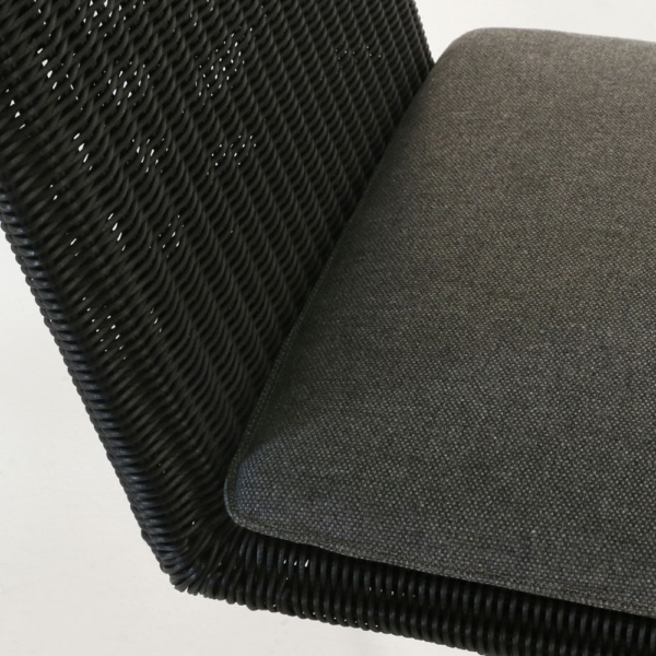 loop swivel dining chair in charcoal closeup