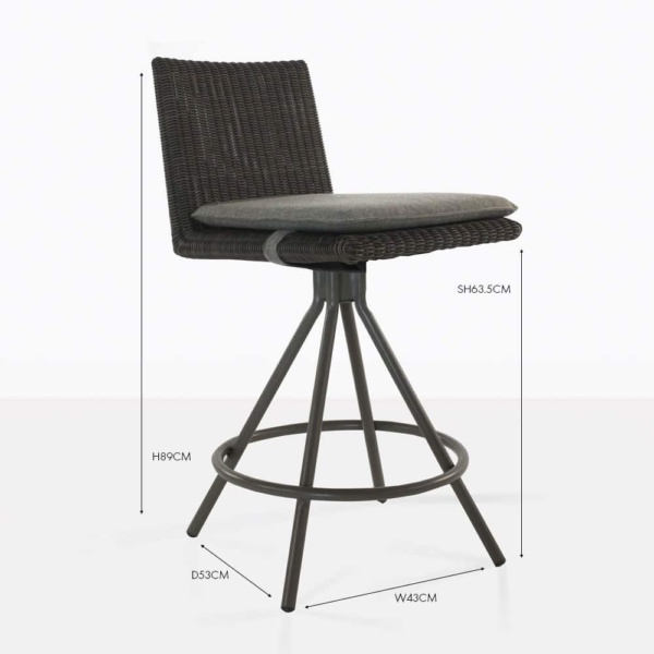 loop wicker counter stool black