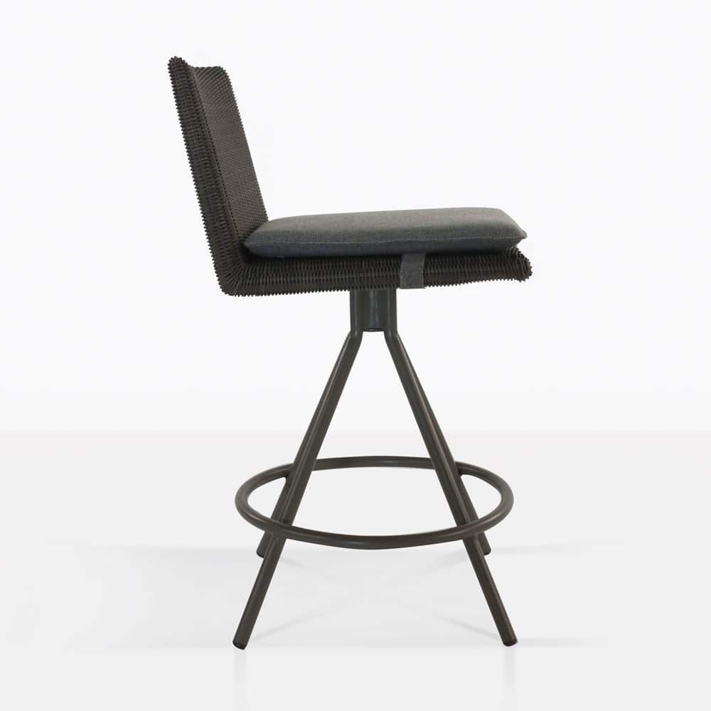 loop counter height stool in charcoal side view