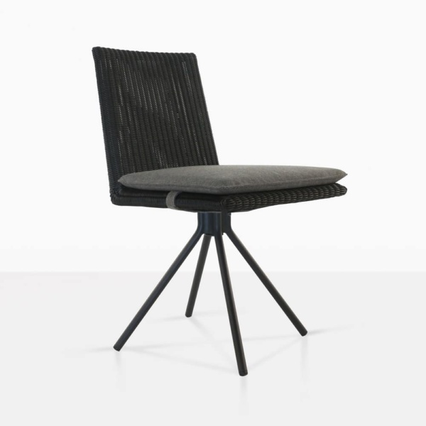 loop swivel dining chair in charcoal front angle view