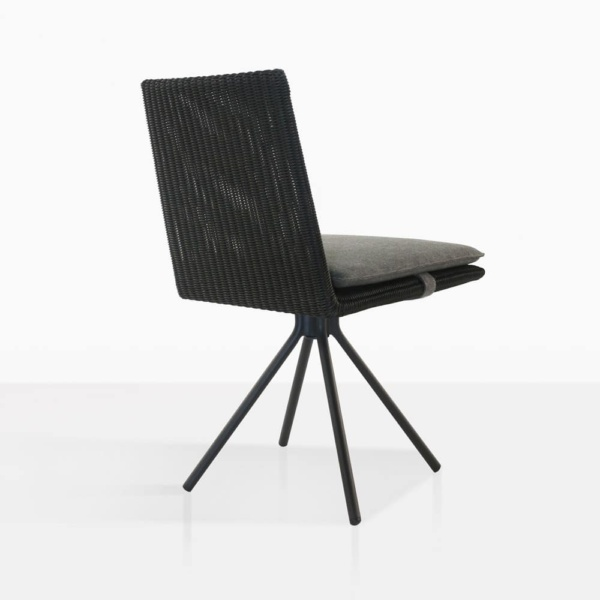 loop swivel dining chair in charcoal back angle view