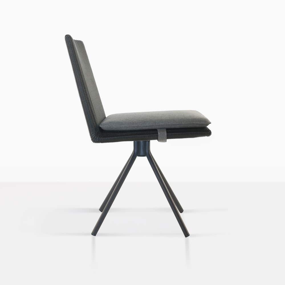 loop swivel dining chair in charcoal side view