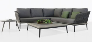 oasis outdoor rope furniture collection with coal color cushions