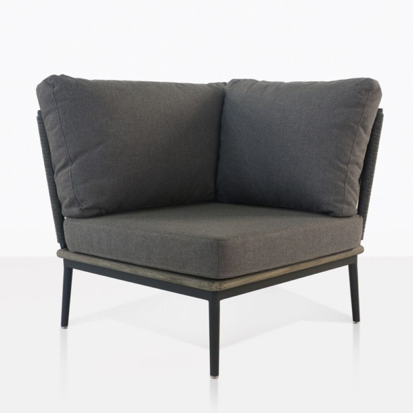 oasis corner sectional with coal color cushions