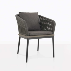 oasis outdoor dining chair in coal color