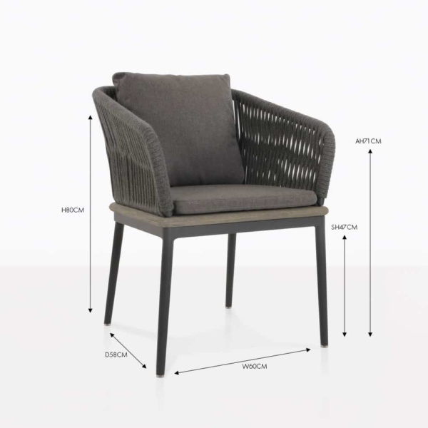 oasis coal rope arm dining chair