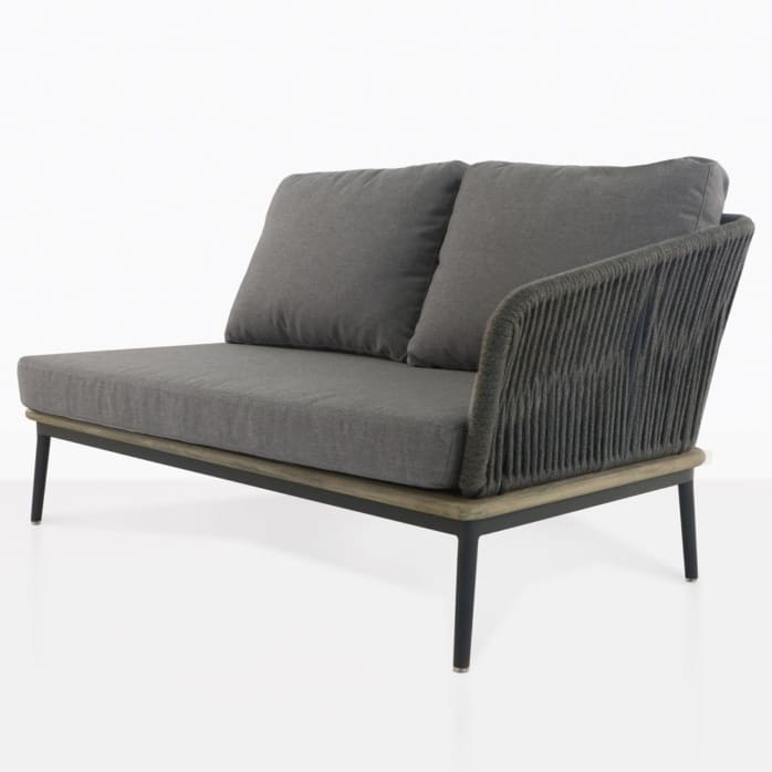 oasis left arm loveseat in coal color