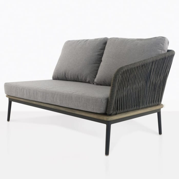 oasis left arm loveseat with grey cushions