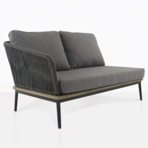 oasis right arm loveseat with dark grey cushions