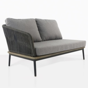 oasis right arm loveseat with light grey cushions