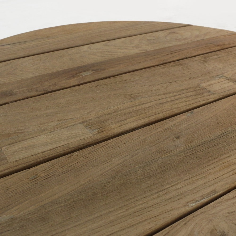 oslo reclaimed teak round side table closeup view