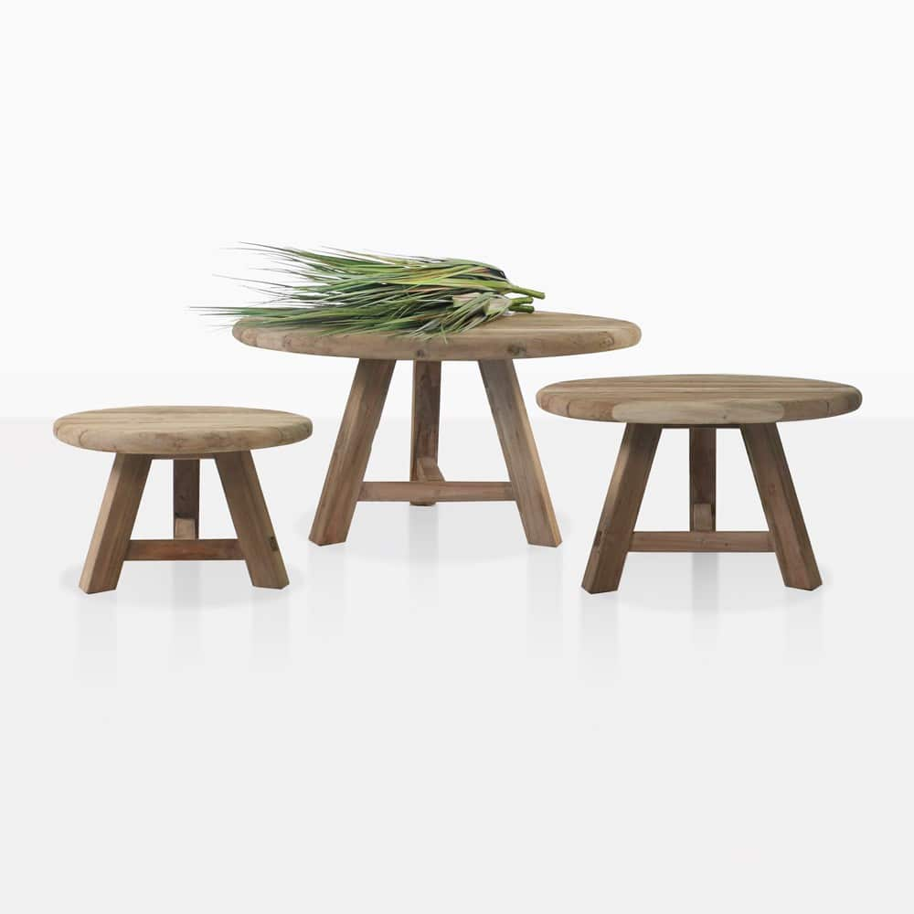 oslo reclaimed teak round side tables