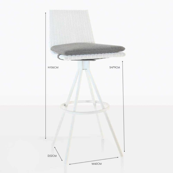 Sammie Swivel Wicker Bar Stool White