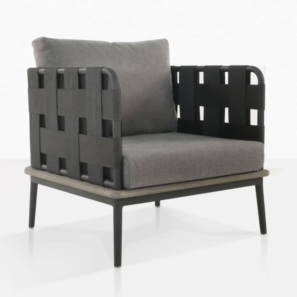 space club chair with blend fog color cushions