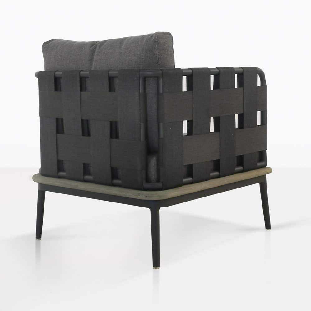 space club chair with blend coal color cushions rear view