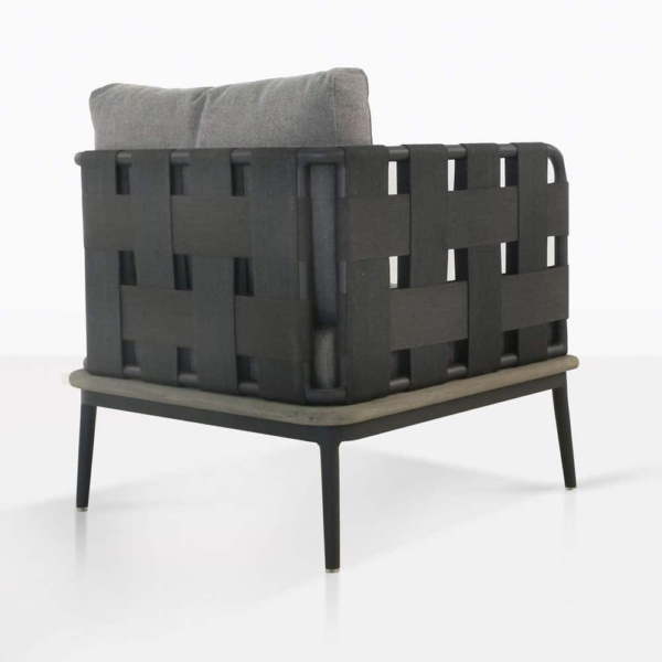 space club chair with blend fog color cushions rear view