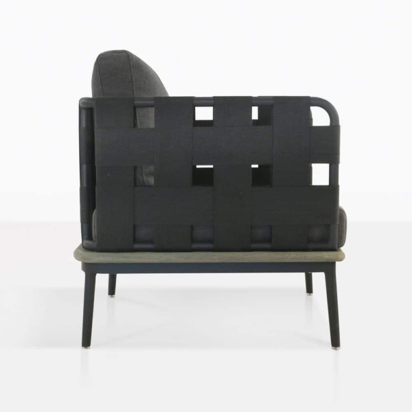 space club chair with blend coal color cushions side view