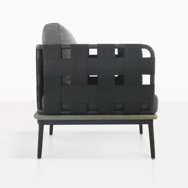 space club chair with blend fog color cushions side view