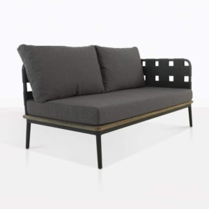 space left arm loveseat with blend coal color cushions