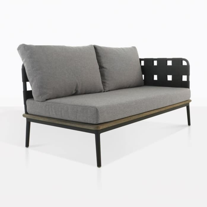 space left arm loveseat with blend fog color cushions