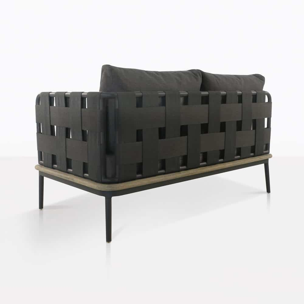 space left arm loveseat with blend coal color cushions rear view
