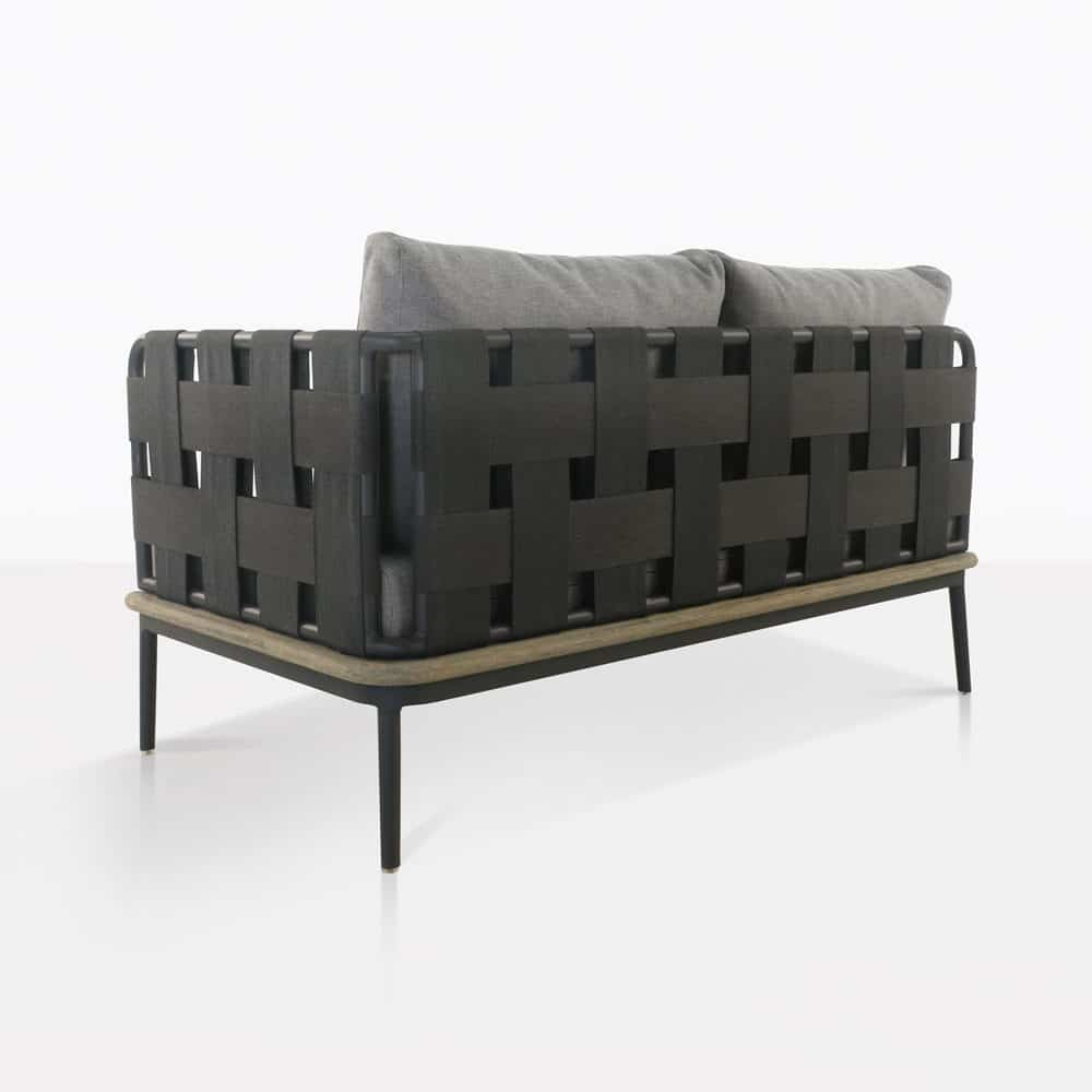 space left arm loveseat with blend fog color cushions rear view