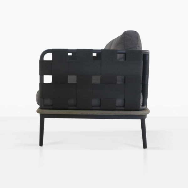 space left arm loveseat with blend coal color cushions side view