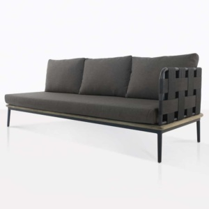 space left arm sofa with blend coal color cushions