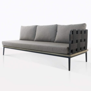 space left arm sofa with blend fog color cushions