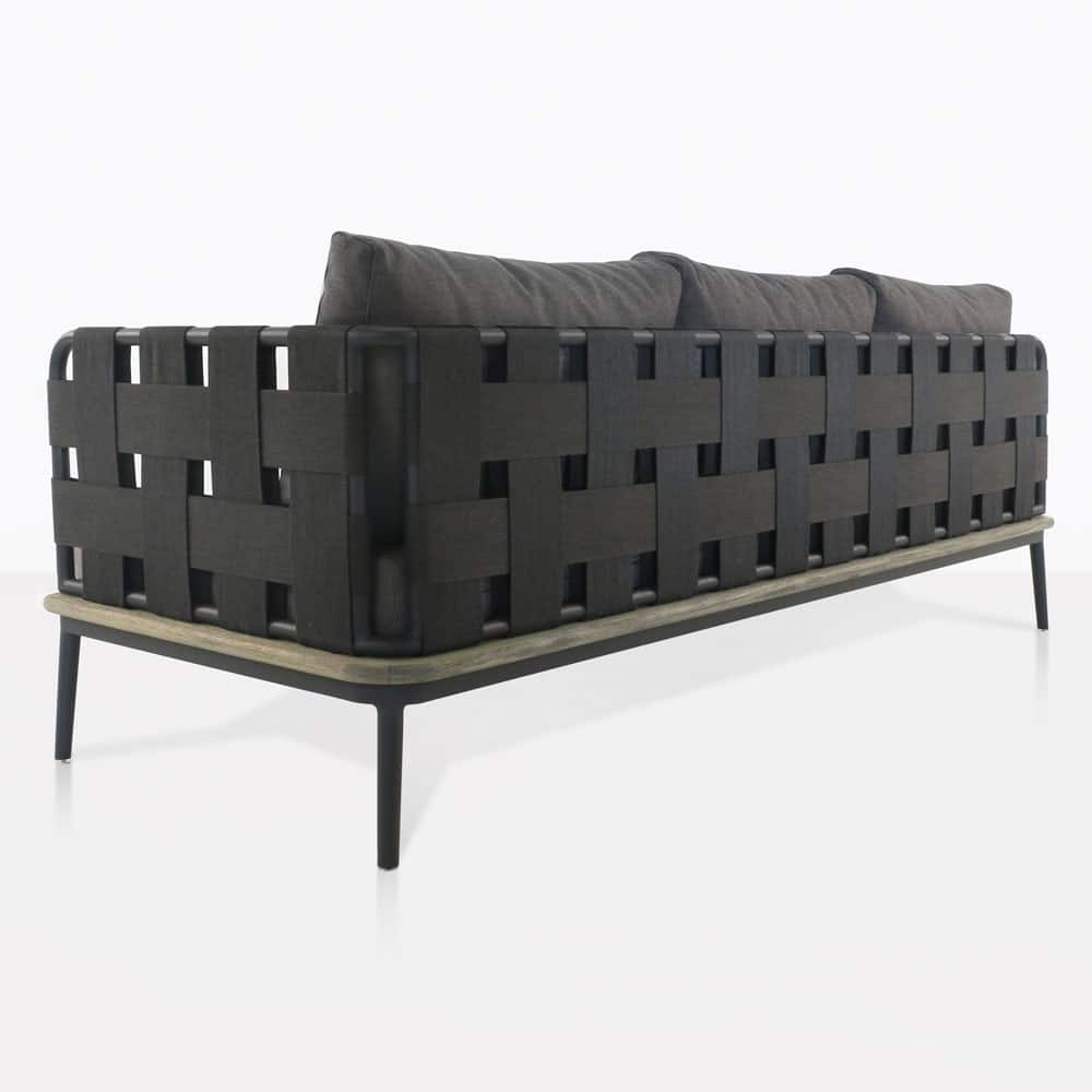 space left arm sofa with blend coal cushions rear view