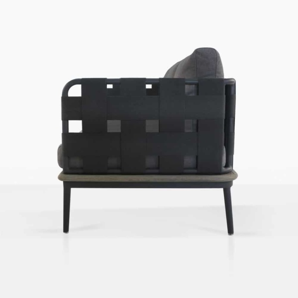 space left arm sofa with blend coal cushions side view