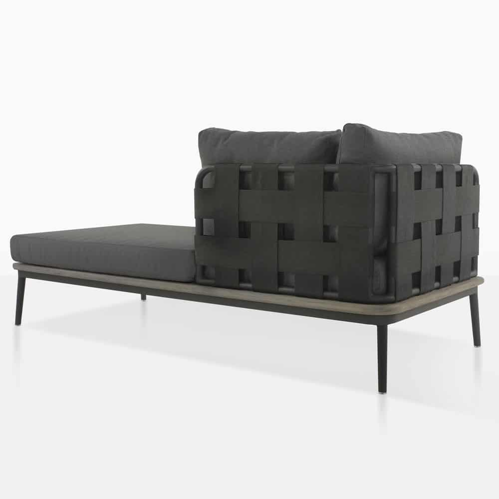 space left arm daybed rear view with blend coal color cushions