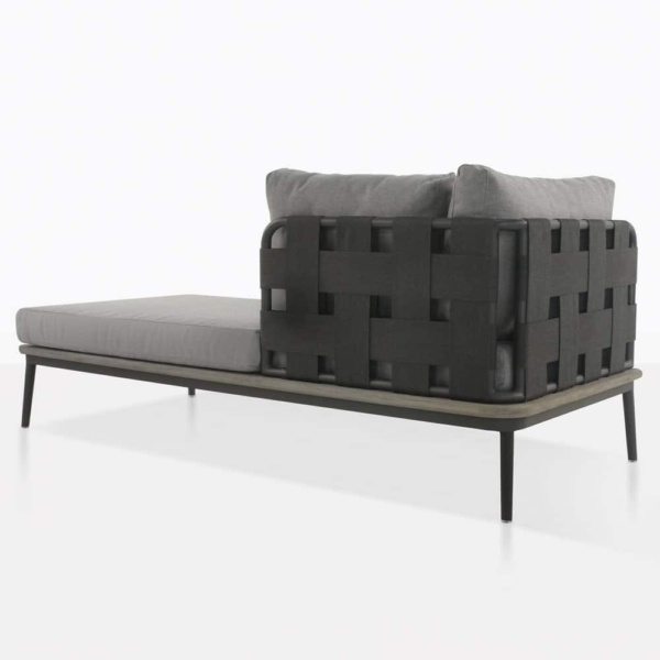 space left arm daybed rear view with blend fog color cushions