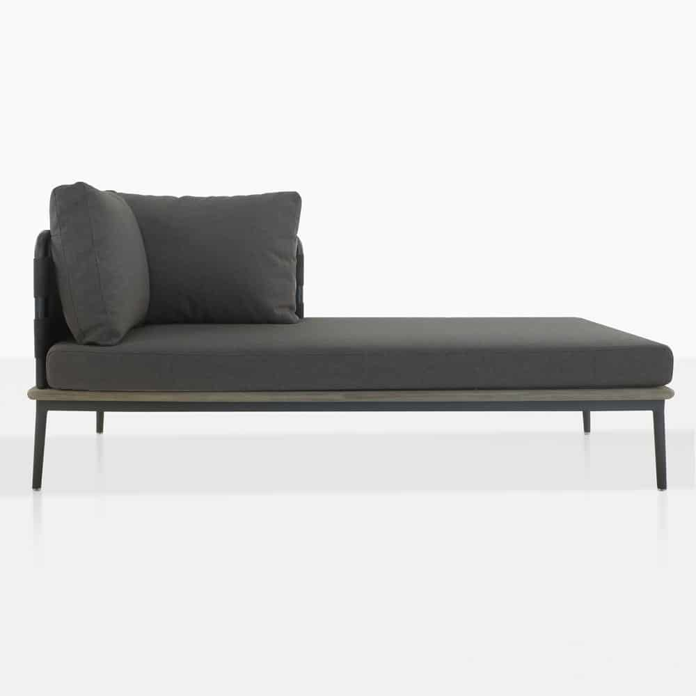 space left arm daybed with blend coal cushions front view