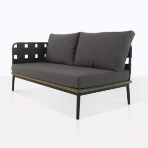 space right arm loveseat with blend coal cushions