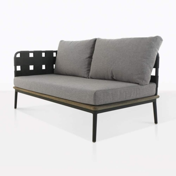 space right arm loveseat with blend fog cushions