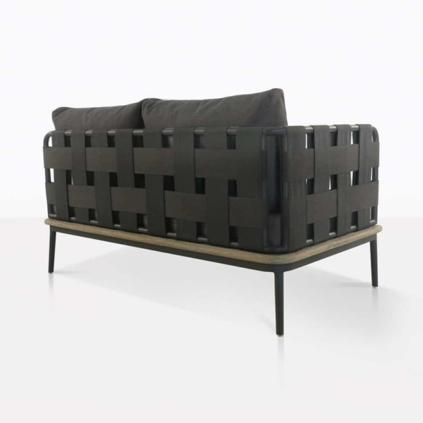 space right arm loveseat with blend coal cushions rear view